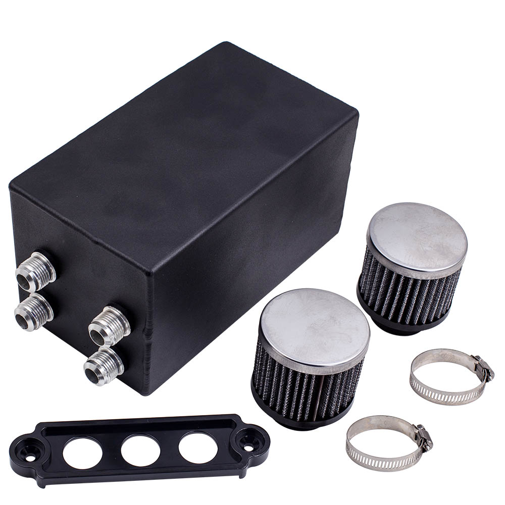 Baffled Oil Catch Can 4 Port All Black -10AN For Honda