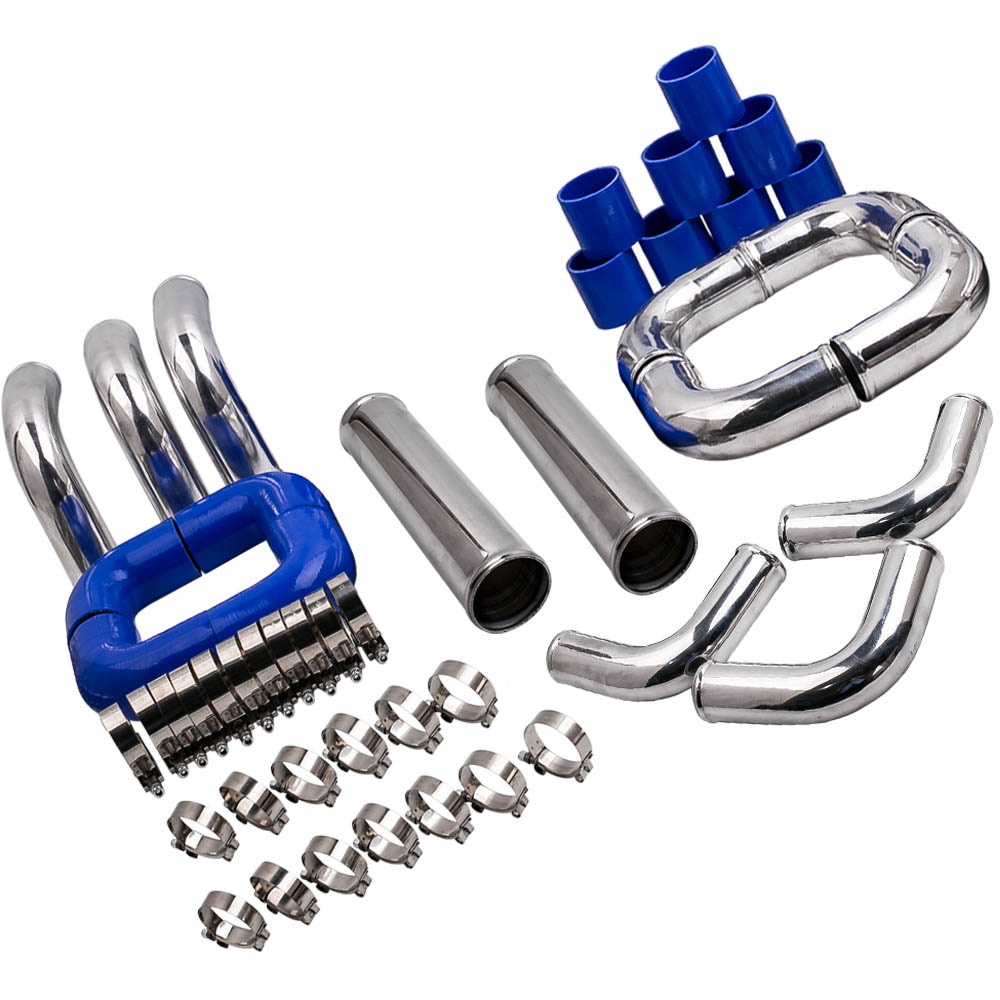 TRIL GEAR Universal 2.5 Aluminum Turbo Intercooler Piping Kit with Black Elbow Hose /& Bolt Clamps